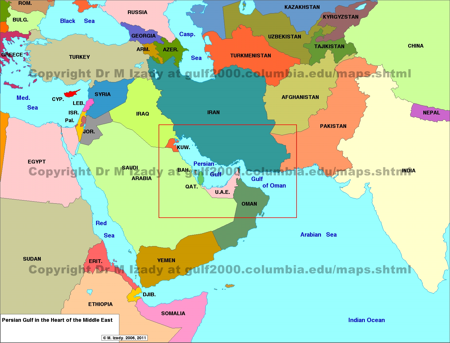 where is bahrain located on a middle east map Gulf Of Bahrain Maps The Gulf 2000 Project Sipa Columbia where is bahrain located on a middle east map