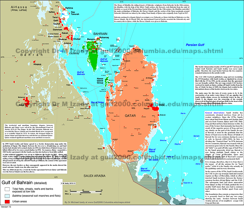 Bahrain Map of Middle East Persian Gulf Map Middle East