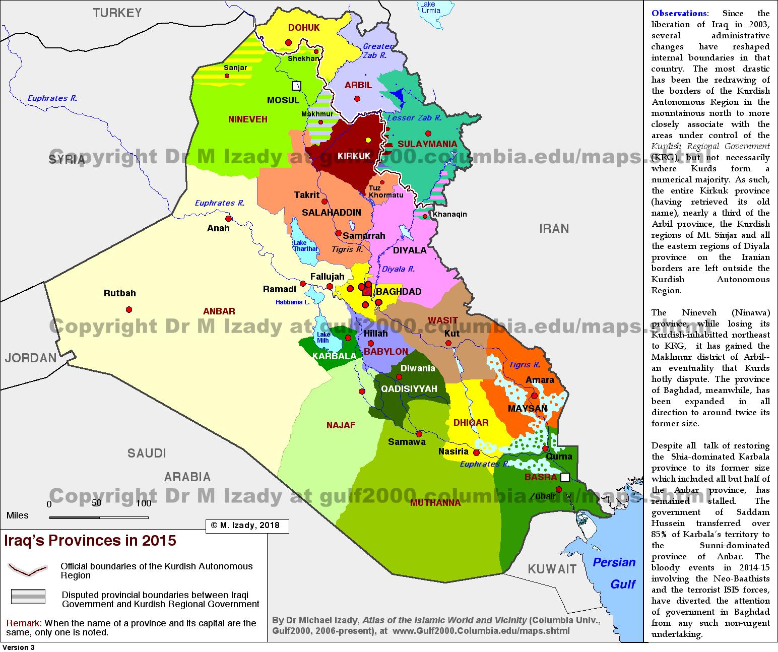 The Gulf2000 Project SIPA COLUMBIA UNIVERSITY – Map of Iraq Provinces