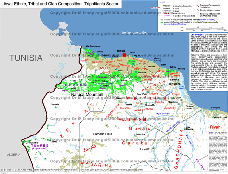 libya ethnic and tribal composition tripolitania sector