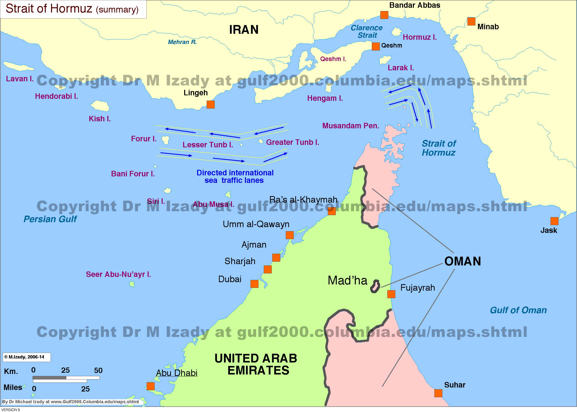 Middle East Map Strait Of Hormuz.Strait Of Hormuz Maps The Gulf 2000 Project Sipa Columbia